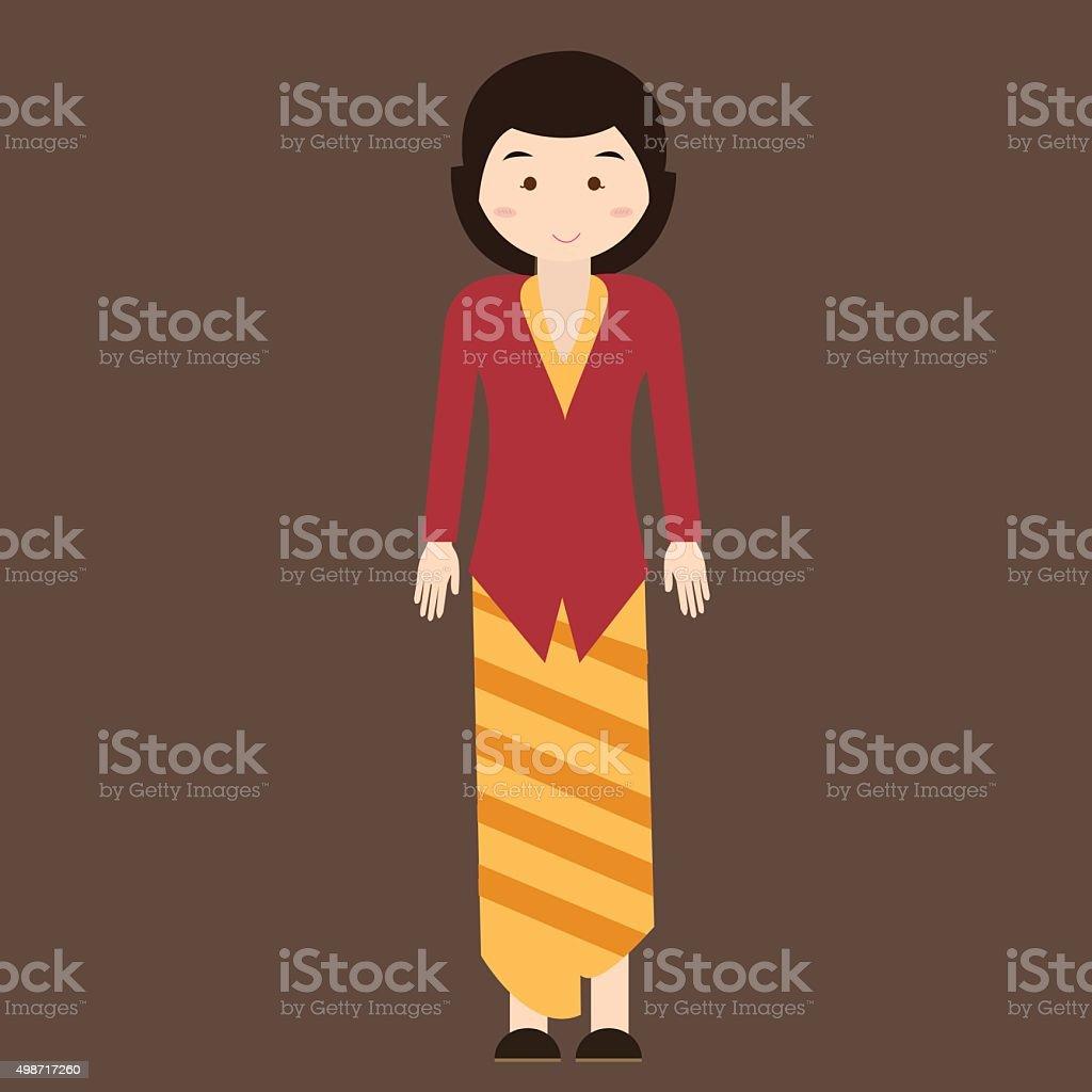 indonesian traditional clothes woman dress kebaya batik vector cartoon java vector art illustration