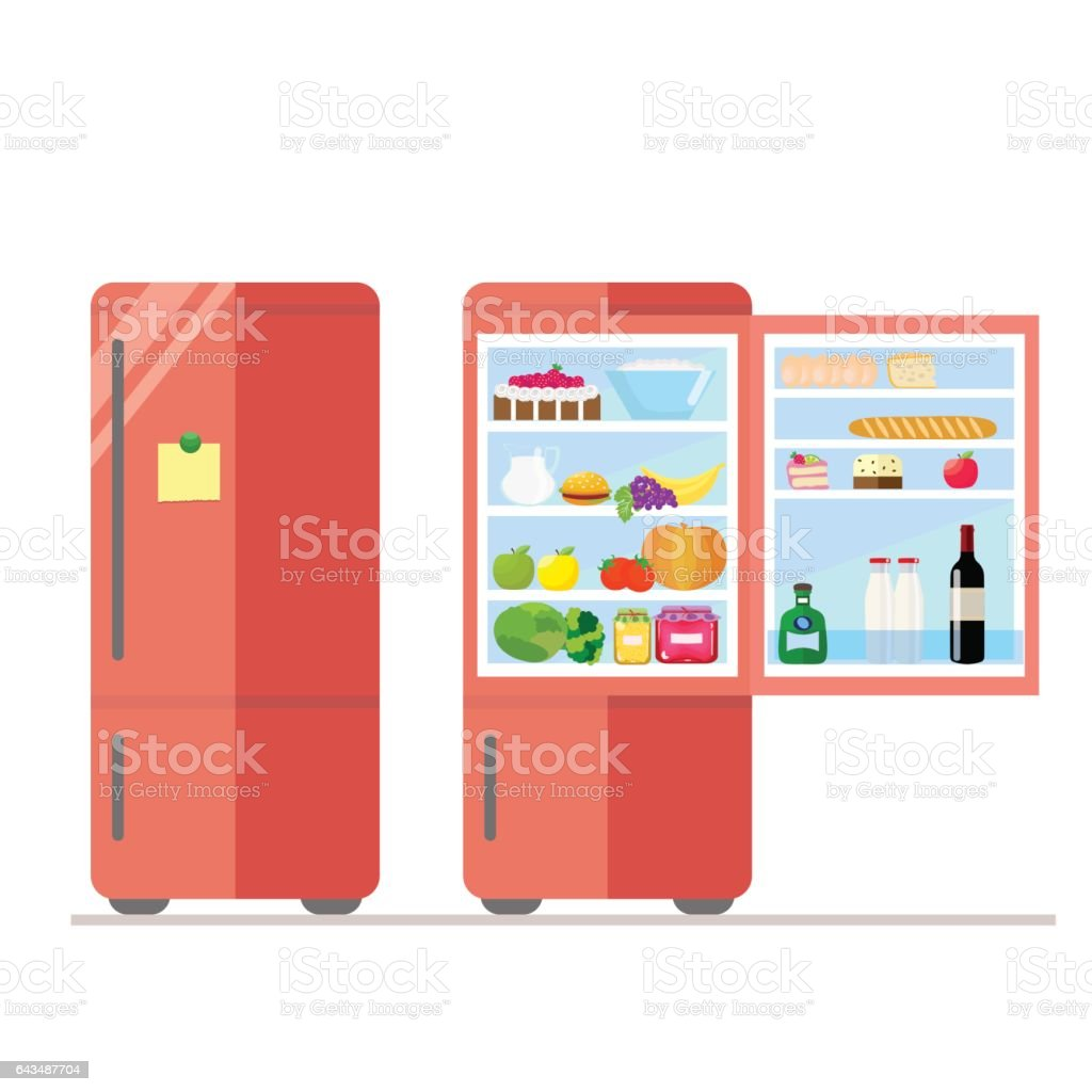 Indoor and outdoor refrigerator with food. Sticker for notes on the door. Dairy and vegetables, cake and wine, eggs and fruit. Vector, illustration in flat style isolated on white background EPS10. vector art illustration