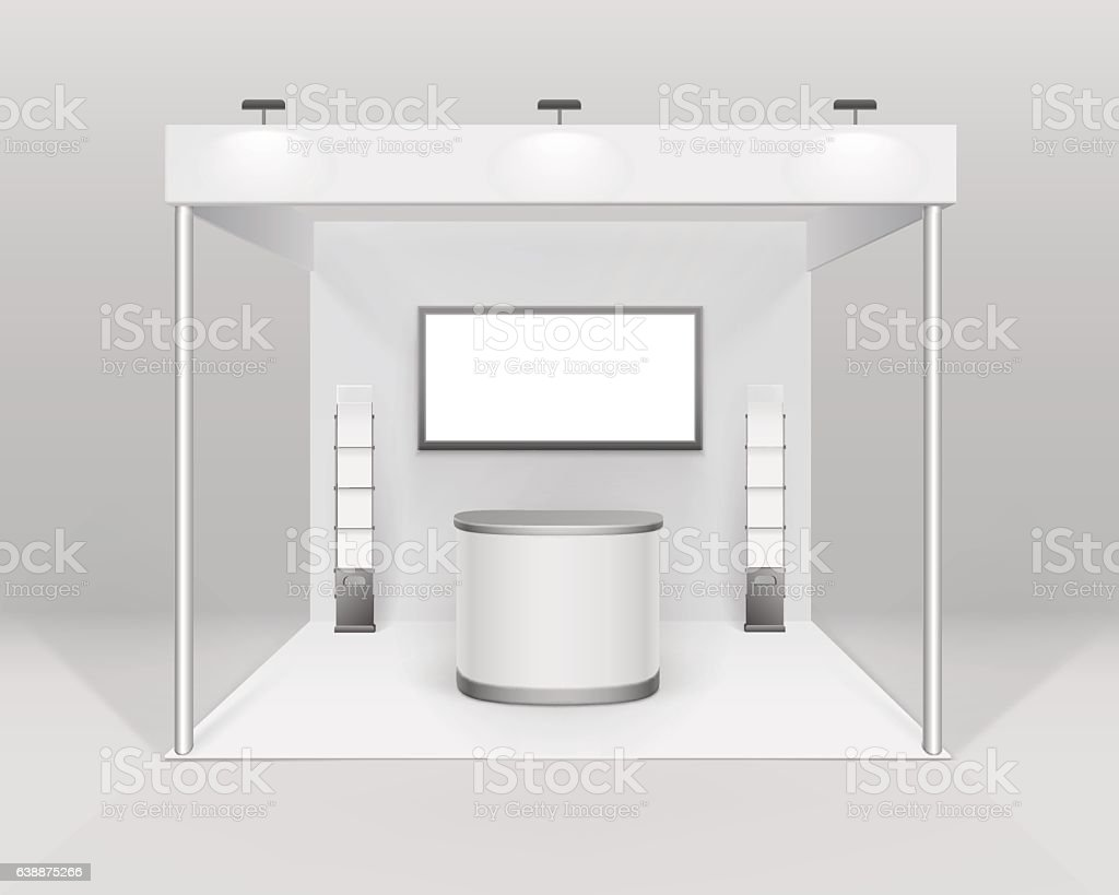 Indoor exhibition Booth Stand with Counter Spotlight Screen Brochure Holder vector art illustration