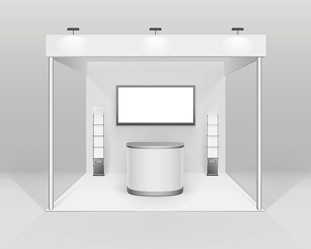 indoor exhibition booth stand with counter spotlight screen brochure holder - standing stock illustrations