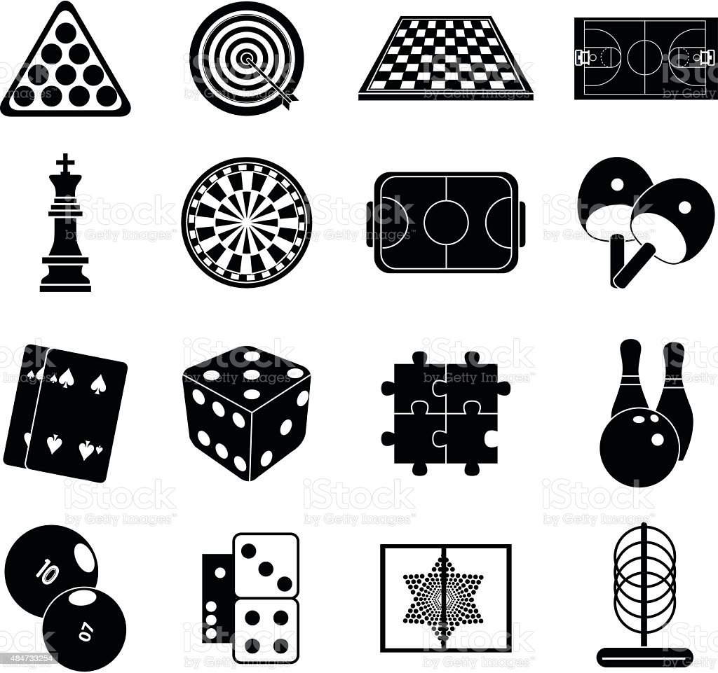 Indoor games icons set vector art illustration