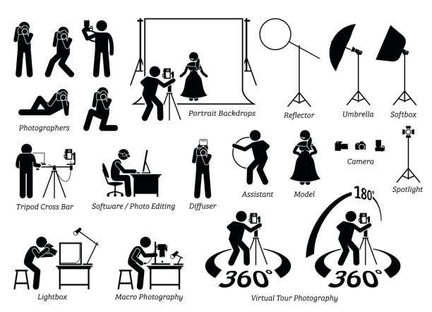 indoor photographer photography shooting. - fotografika stock illustrations