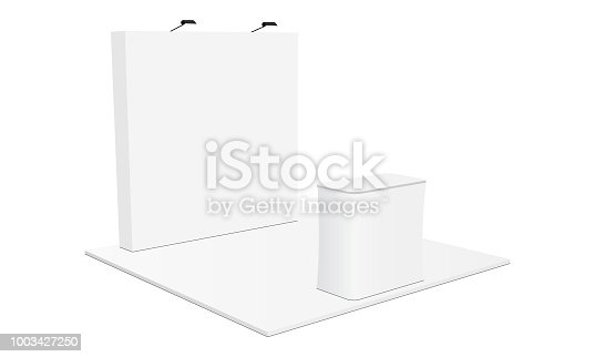 Indoor trade show booth equipment - back wall banner stand and demonstration table. Vector illustration