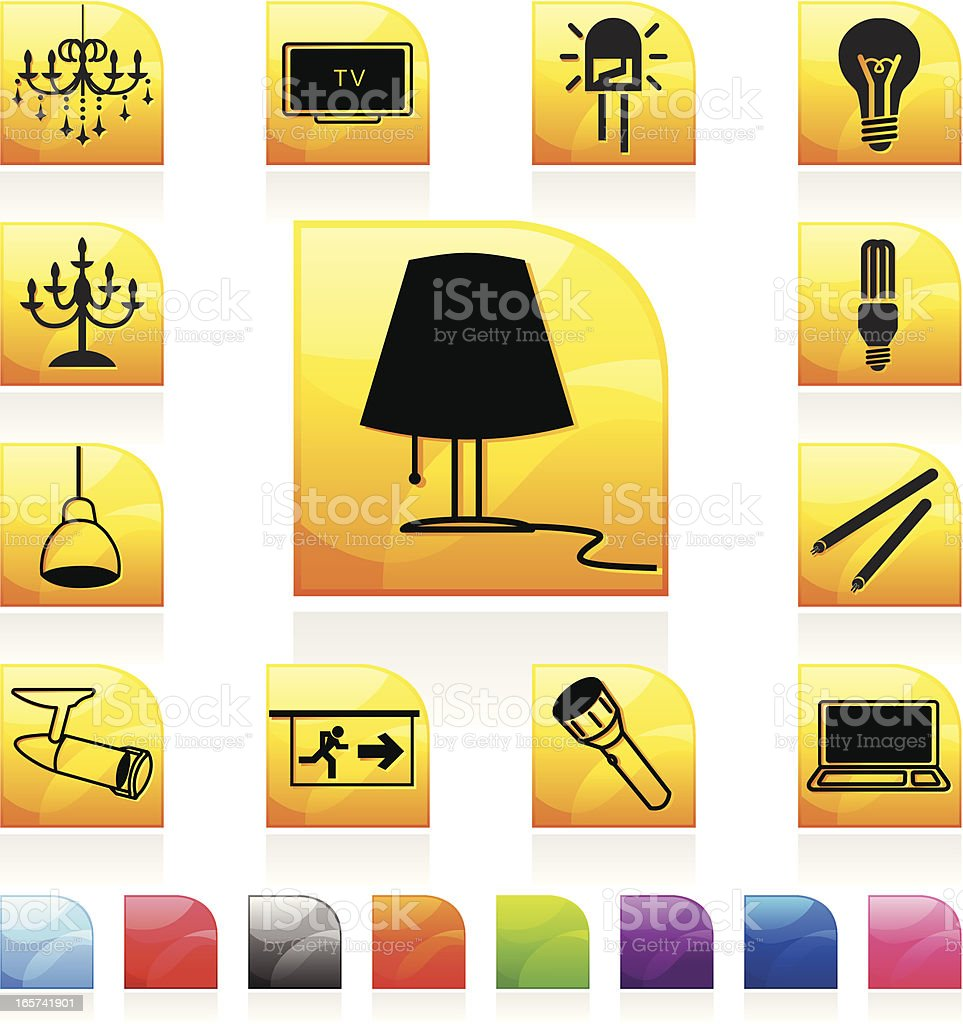 Indoors Lighting Application Icons vector art illustration