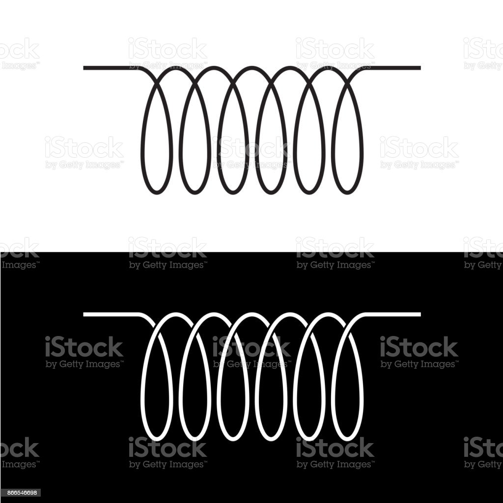 Induction Spiral Electrical Symbol Black Linear Coil Element Sign