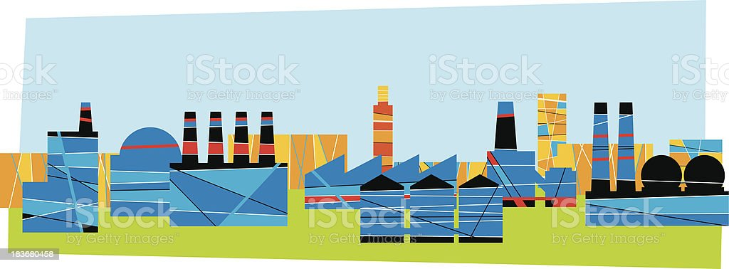 Industrial Area vector art illustration