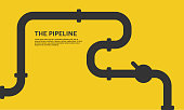 Industrial background with yellow pipeline. Oil, water or gas pipeline with fittings and valves. Web banner template.