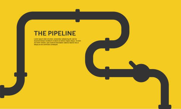bildbanksillustrationer, clip art samt tecknat material och ikoner med industriell bakgrund med gul rörledning. olje-, vatten-eller gasledning med beslag och ventiler - water pipes