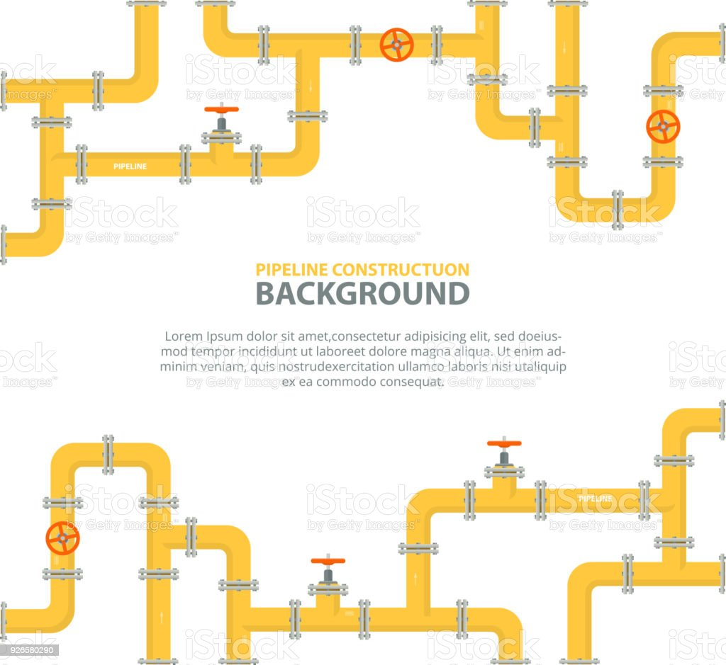 Industrial background with yellow pipeline. Oil, water or gas pipeline with fittings and valves. vector art illustration