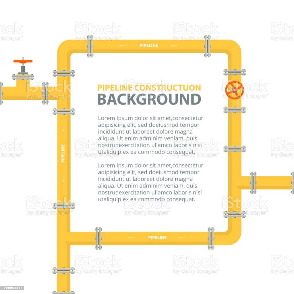 Industrial background with yellow pipeline. Pipes in shape frame for text. vector art illustration