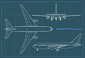 Industrial blueprint of airplane. Vector outline drawing plane on a blue background. Top, side and front view.
