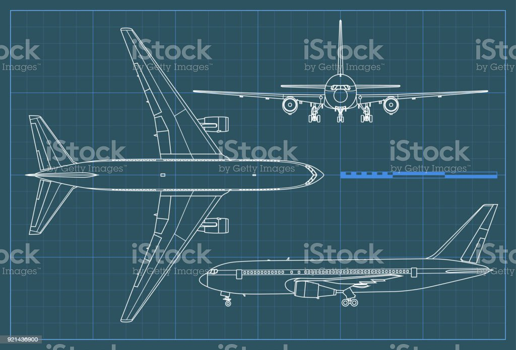 Industrial blueprint of airplane. Vector outline drawing plane on a blue background. Top, side and front view. vector art illustration