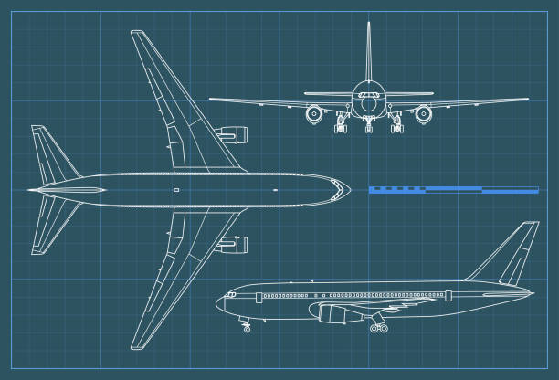 Industrial blueprint of airplane. Vector outline drawing plane on a blue background. Top, side and front view. Industrial blueprint of airplane. Vector outline drawing plane on a blue background. Top, side and front view plane stock illustrations