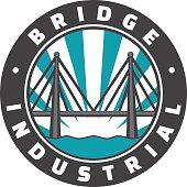 Industrial bridge logo design. Icon. Vintage badge. Vector illustration