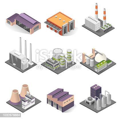 Industrial building isometric set. Factories for manufacturing, repairing, cleaning, washing. Vector illustration on white background