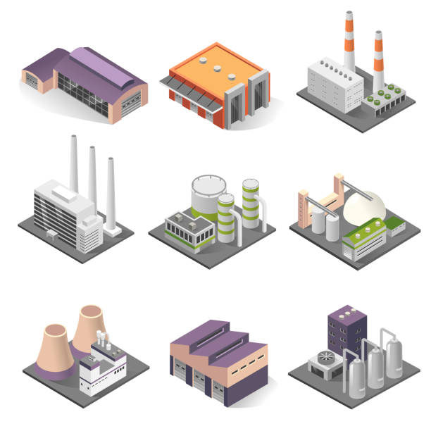 Industrial building and factory architecture sometric set Industrial building isometric set. Factories for manufacturing, repairing, cleaning, washing. Vector illustration on white background plant stock illustrations