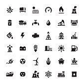 Industrial Building and Power Generation vector icons