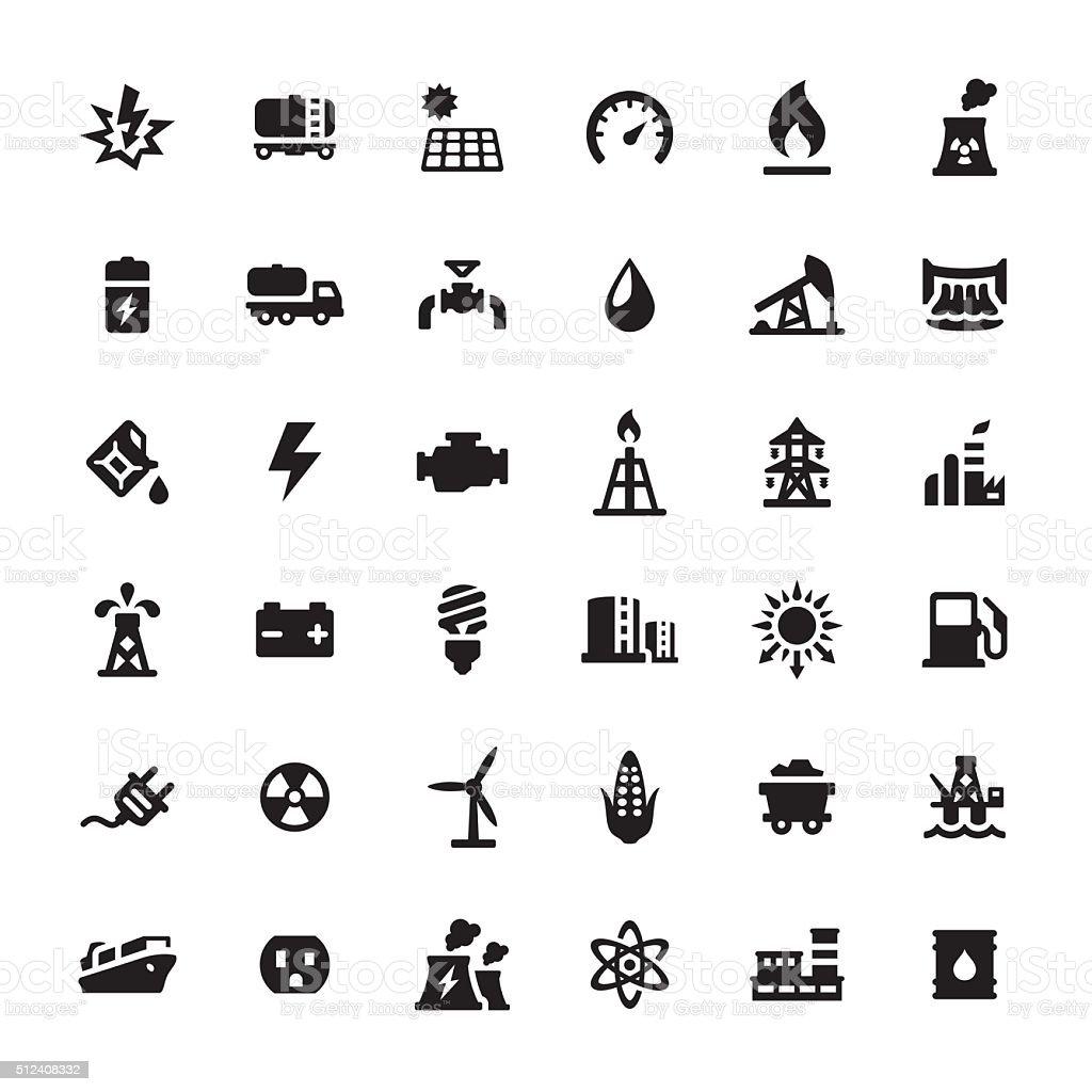 Industriegebäude und Macht Erstellung der Vektor-icons – Vektorgrafik