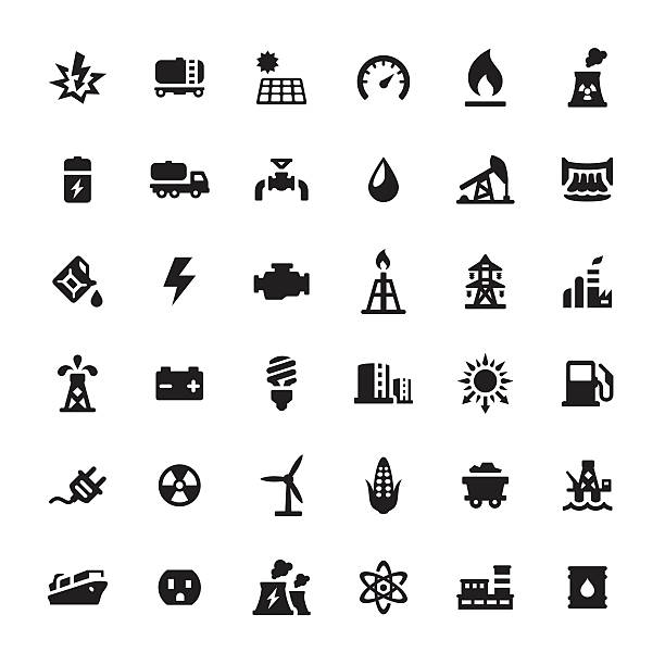 Industrial Building and Power Generation vector icons vector art illustration