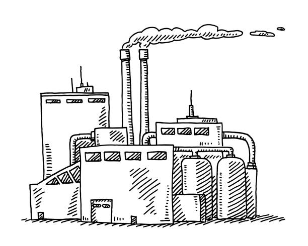 Industrial Building Drawing Hand-drawn vector drawing of an Industrial Building. Black-and-White sketch on a transparent background (.eps-file). Included files are EPS (v10) and Hi-Res JPG. environment stock illustrations