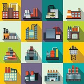 Industrial building factory flat icons set for web and mobile devices