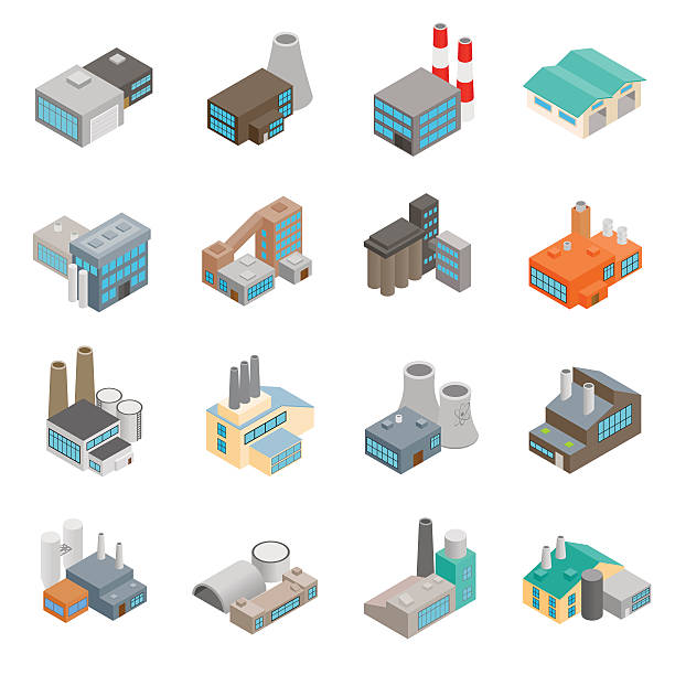 Industrial building factory icons Industrial building factory and power plants isometric 3d icons set power station stock illustrations