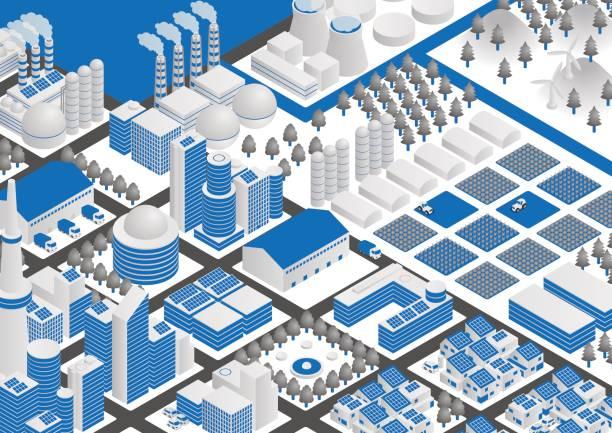 工業用の建物および輸送 - 都市 モノクロ点のイラスト素材/クリップアート素材/マンガ素材/アイコン素材