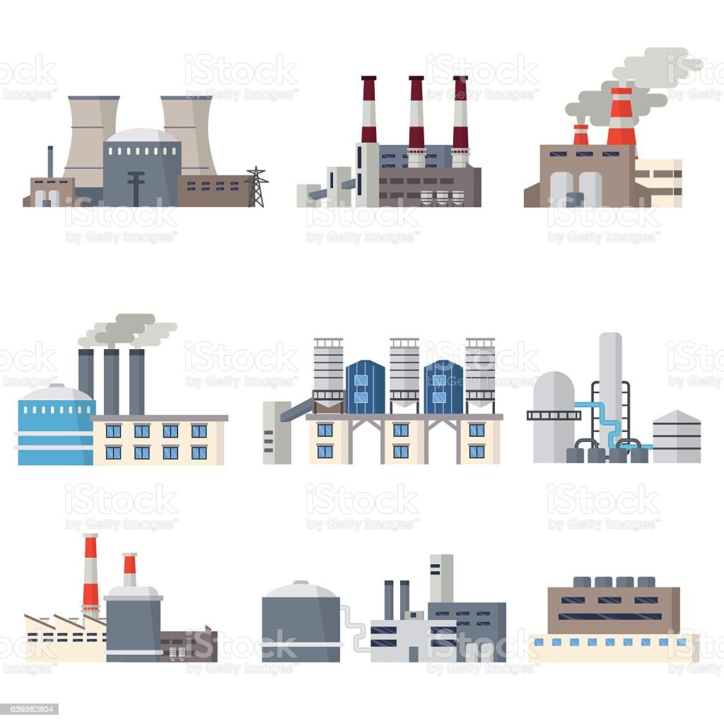 Industrial buildings icon set vector art illustration