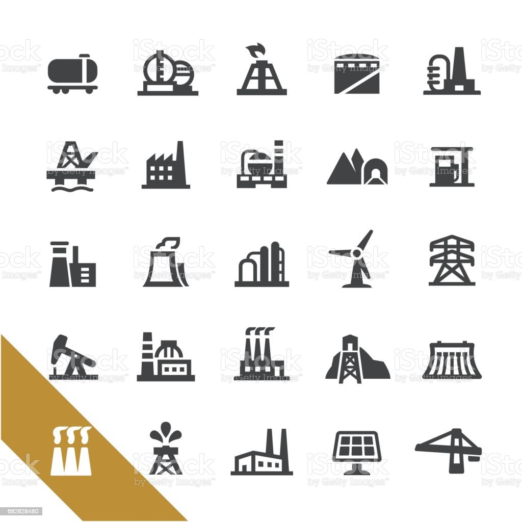 Industrial Buildings Icons - Select Series vector art illustration