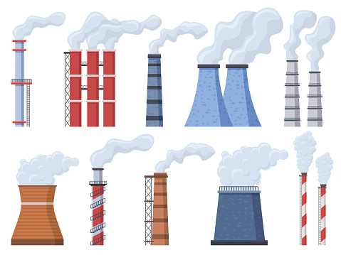 Industrial chimney. Manufacturing industrial chimney, toxic air chimney pipes, factory chimney smoke pollution vector illustration icons set