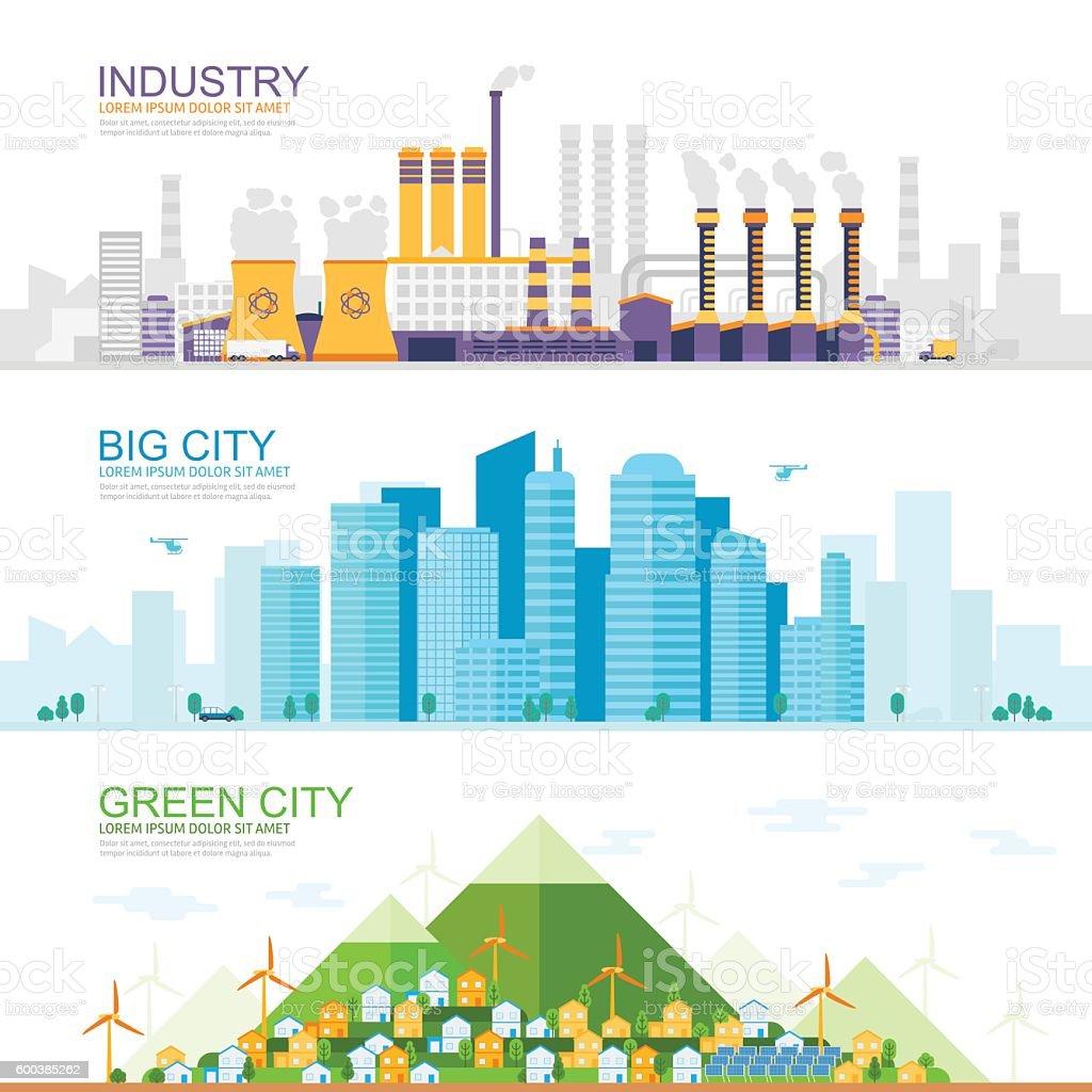 industrial city, modern city, gree city vector art illustration