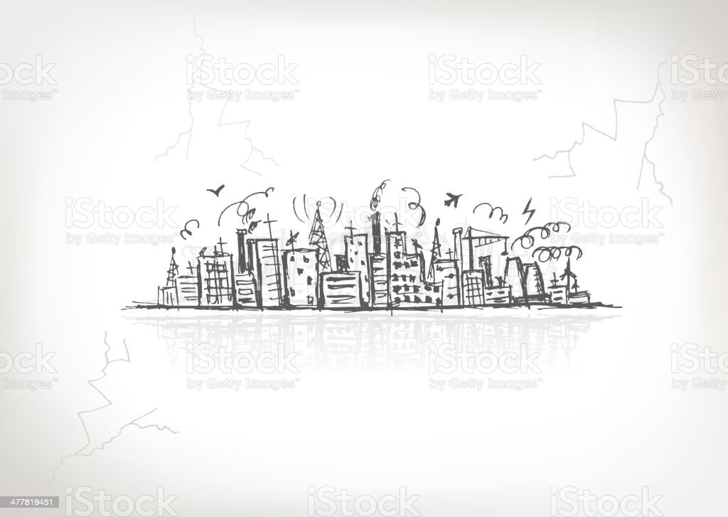 Industrial cityscape, sketch drawing for your design royalty-free industrial cityscape sketch drawing for your design stock vector art & more images of architecture
