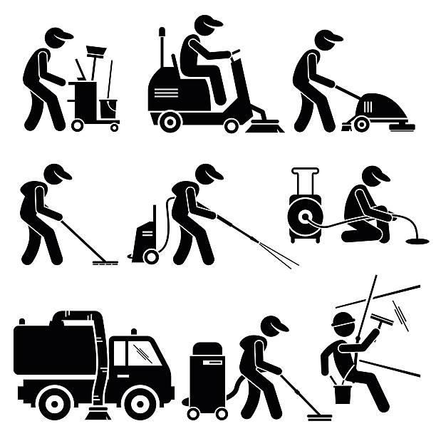 stockillustraties, clipart, cartoons en iconen met industrial cleaning worker with tools and equipment illustrations - schoonmaakapparatuur