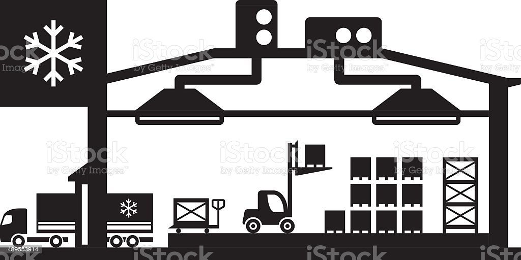 Industrial cold store scene vector art illustration