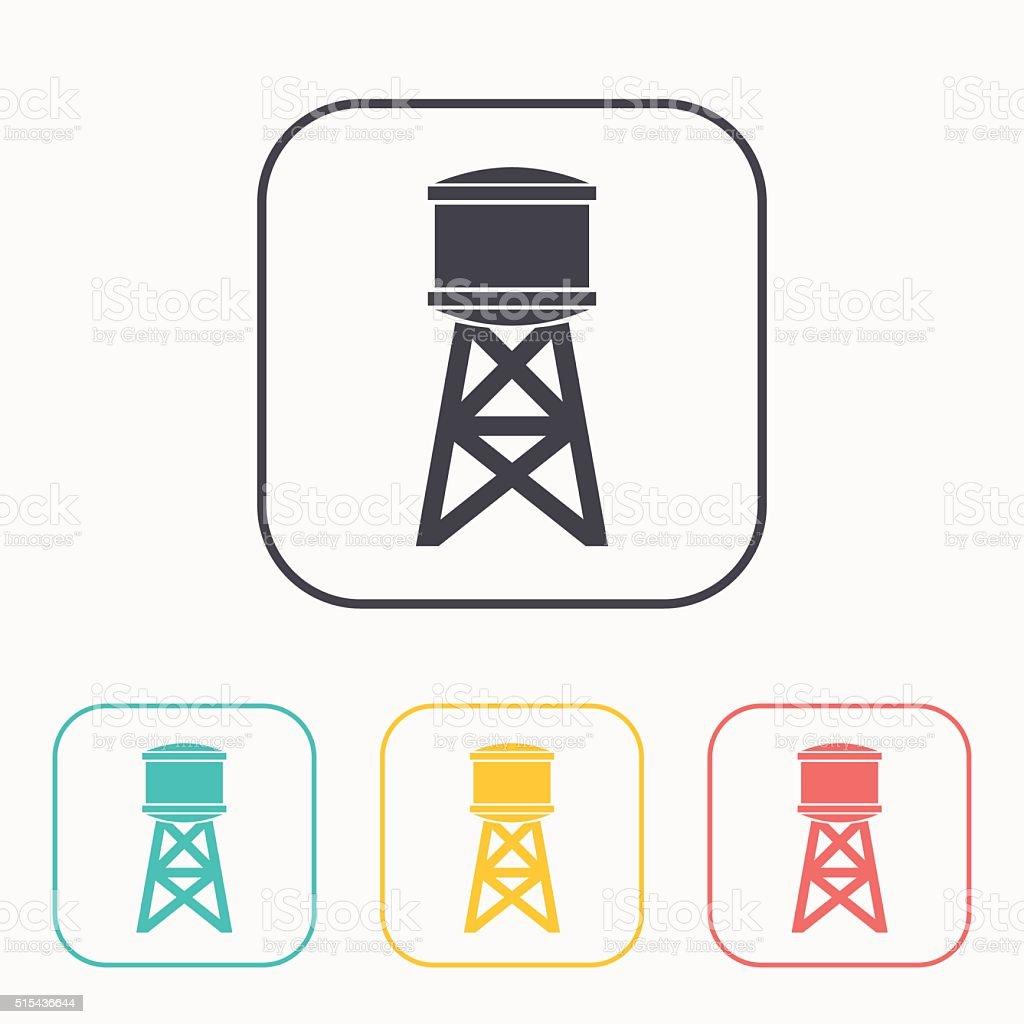 Industrial construction with water tank color icon set vector art illustration