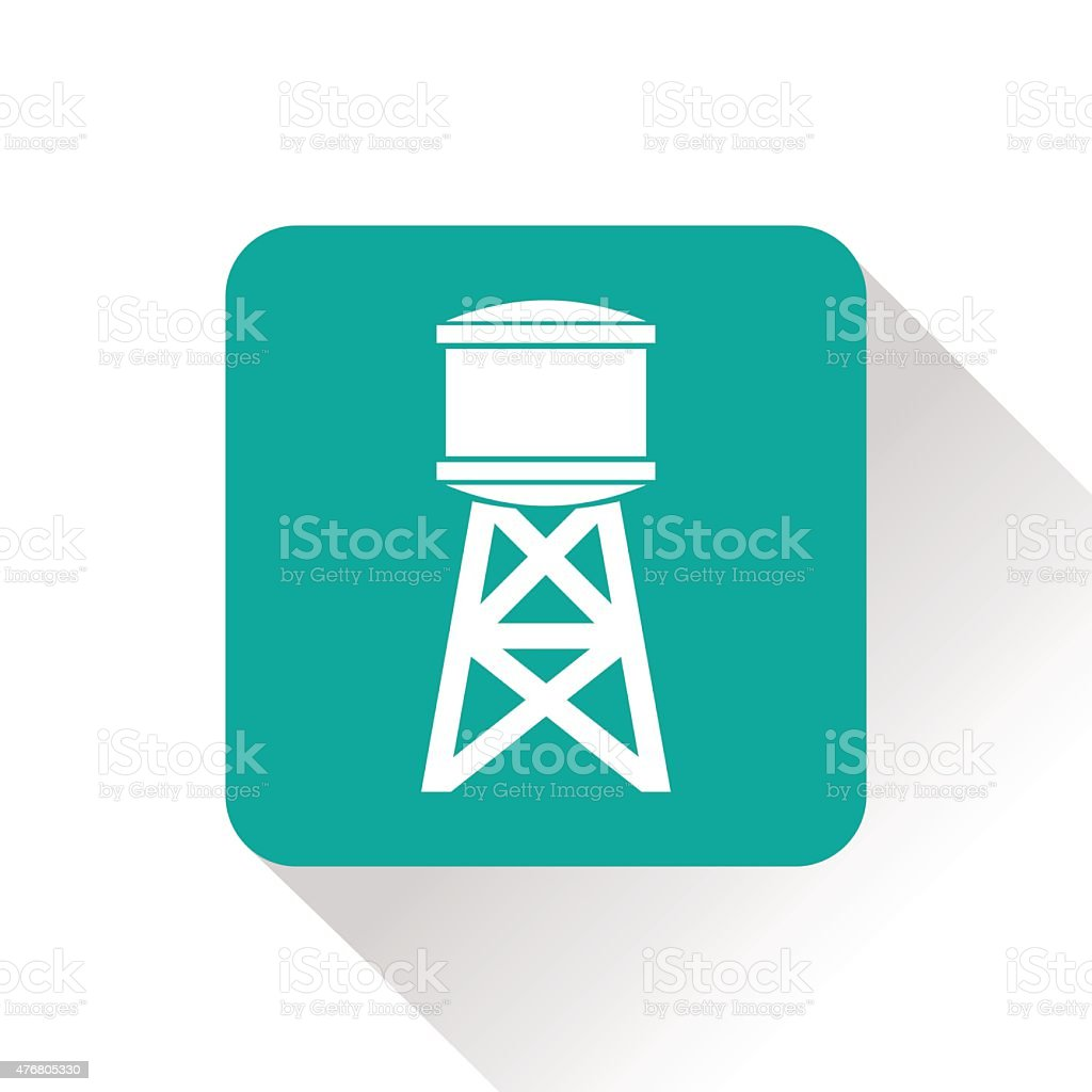 Industrial construction with water tank vector art illustration