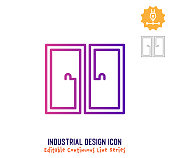 Industrial design vector icon illustration for logo, emblem or symbol use. Part of continuous one line minimalistic drawing series. Design elements with editable gradient stroke.
