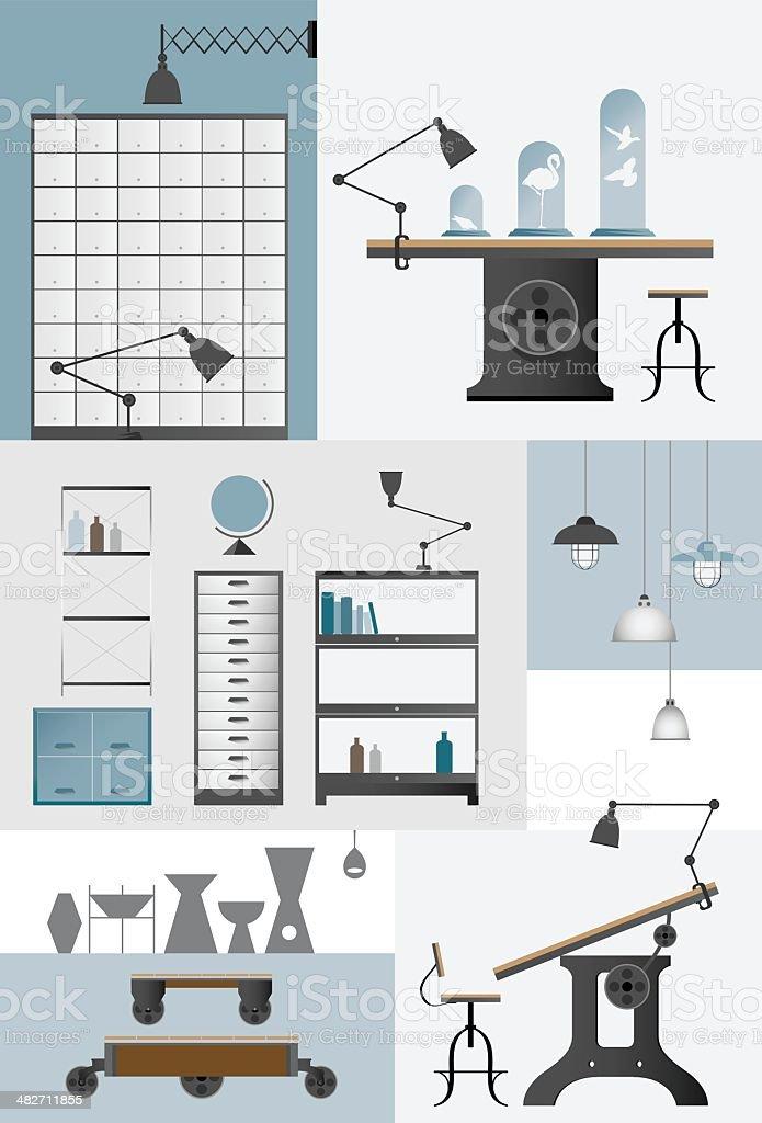 Industrial Design Furniture Set royalty-free stock vector art