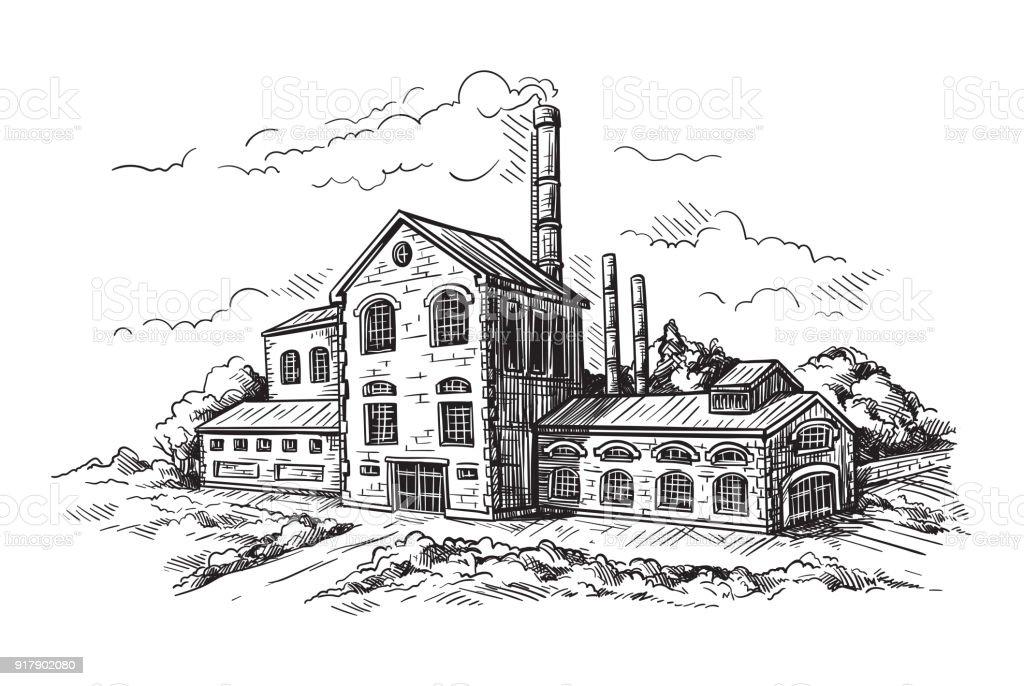 industrial distillery factory vector art illustration