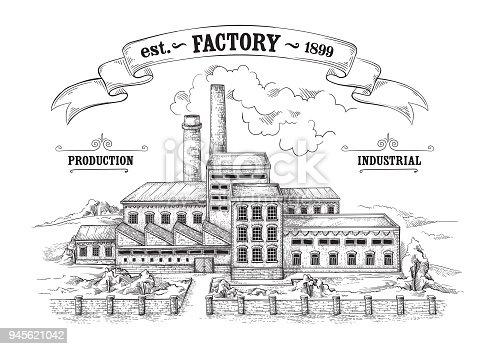 industrial distillery factory hand drawn sketch vector illustration