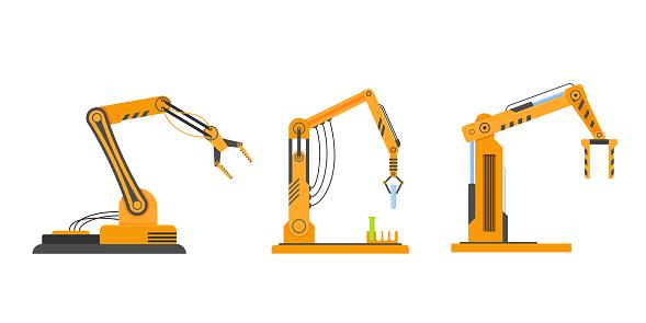 Industrial equipment in form arm robots, robotic equipment, factory machines.
