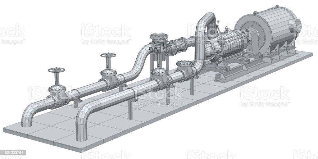 Industrieanlagenpumpe Drahtrahmen Eps10 Format Vector Rendering Von ...