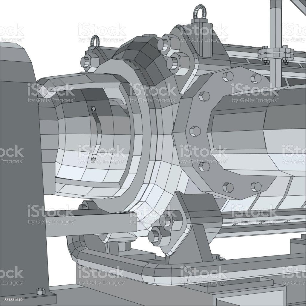 Bomba Del Equipo Industrial Marco De Alambre Eps10 Formato ...