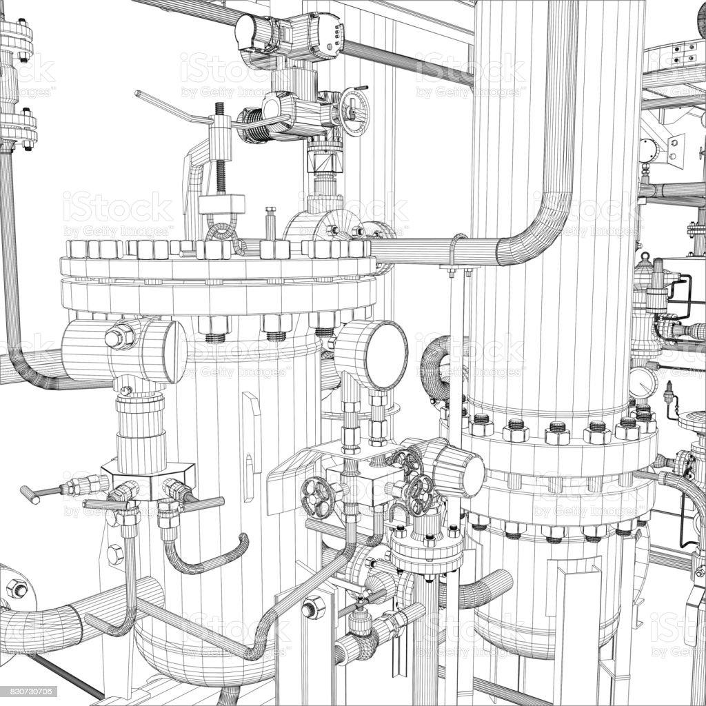 Equipos Industriales Vector Marco De Alambre - Arte vectorial de ...