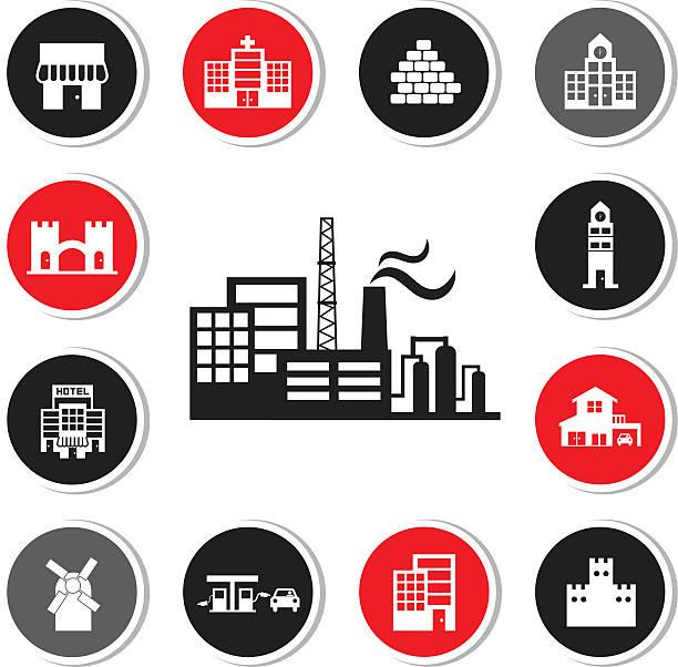 ilustraciones, imágenes clip art, dibujos animados e iconos de stock de fábrica industrial y edificios conjunto de iconos - suministros escolares