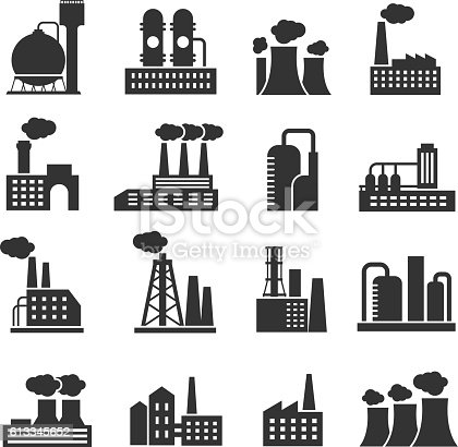 Industrial factory and plant buildings vector icons set. Silhouette of power manufactory illustration