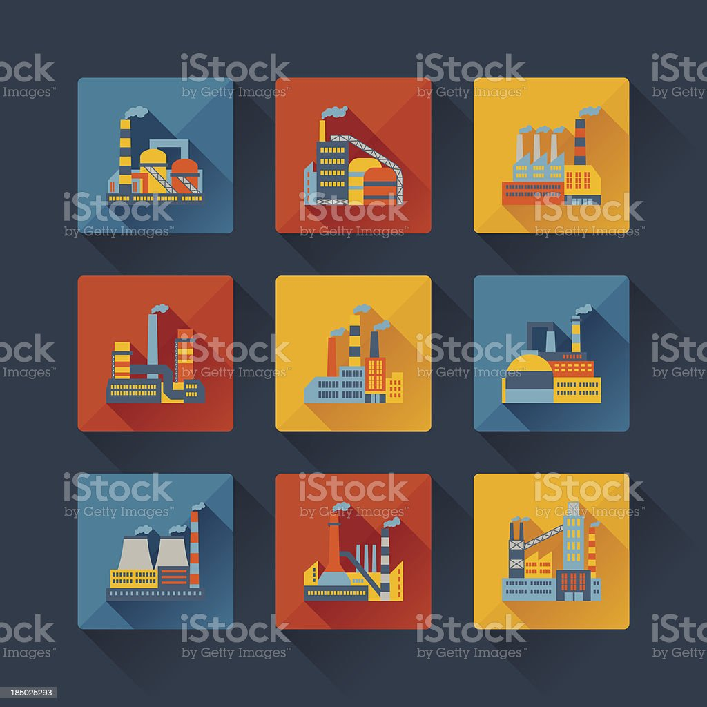 Industrial factory buildings icons set in flat design style. vector art illustration