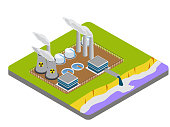 istock Industrial factory cause air and river pollution 1313473200