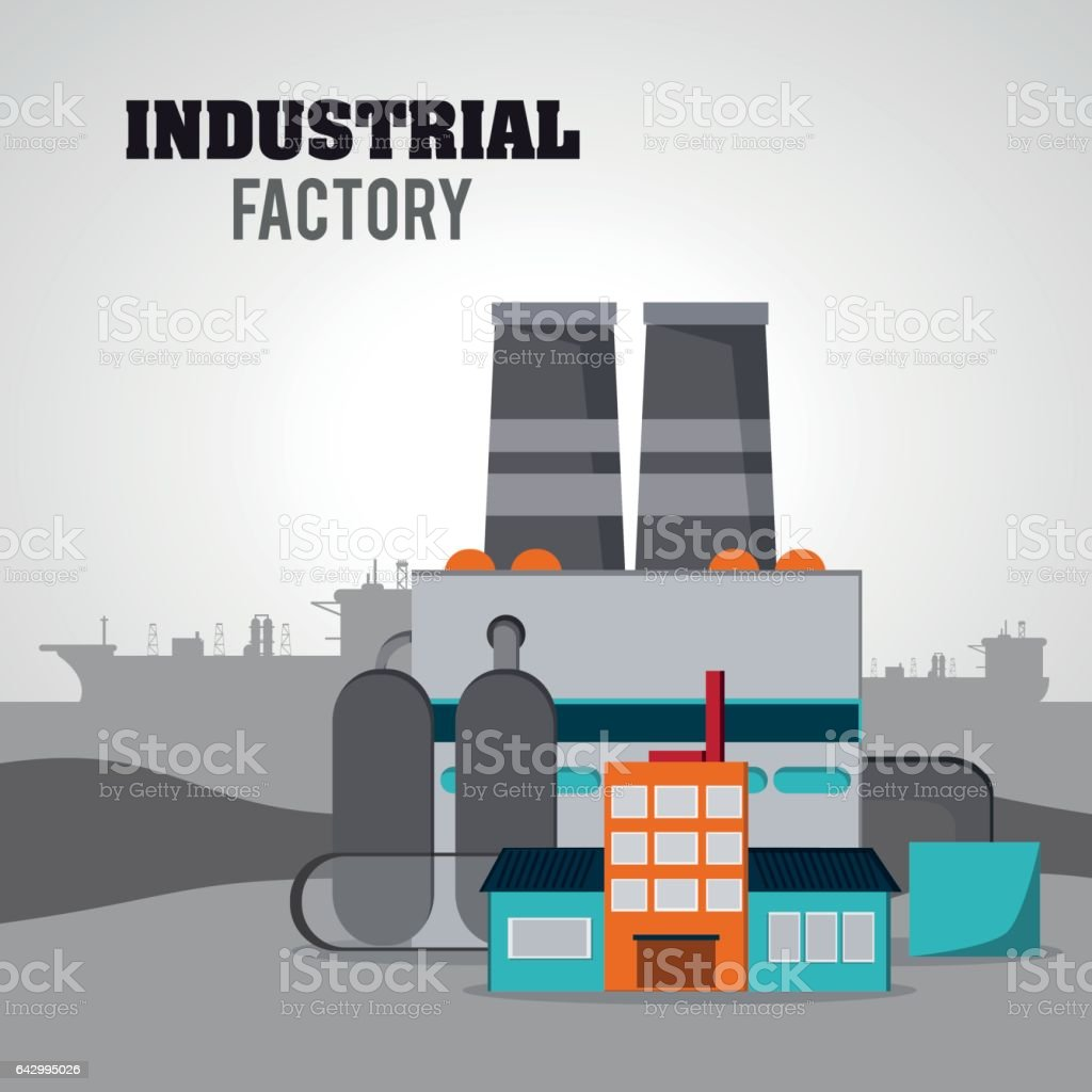 Industrial factory design, Vector illustration vector art illustration