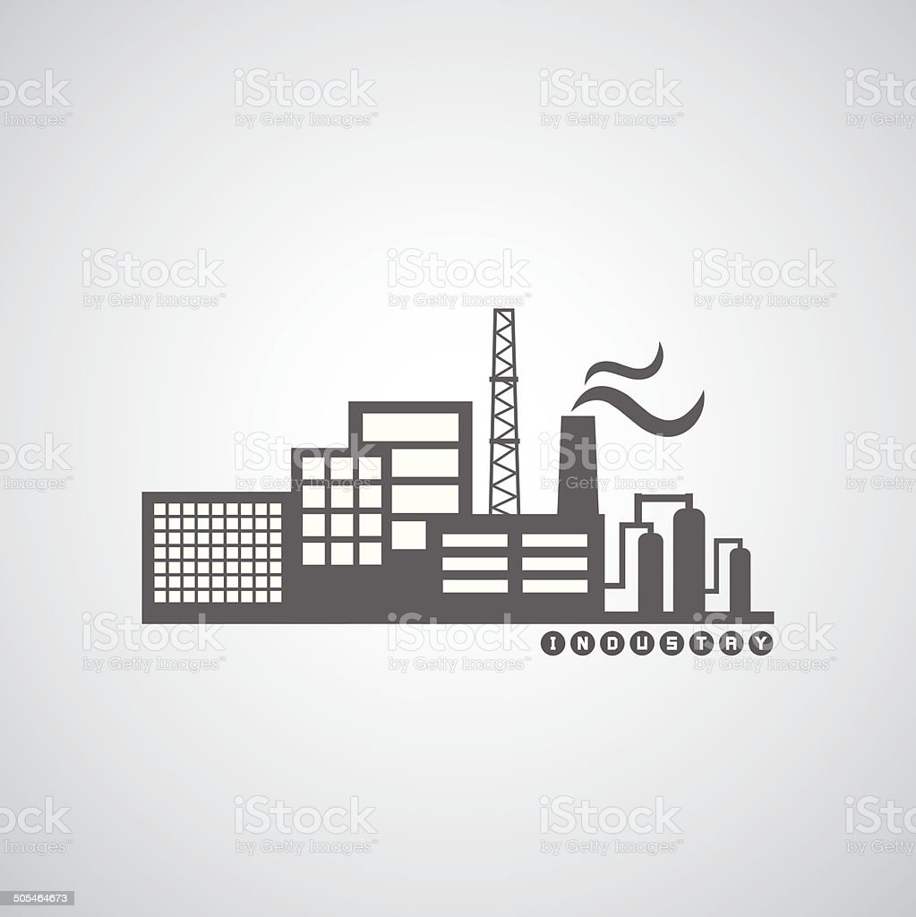 industrial factory icon vector art illustration
